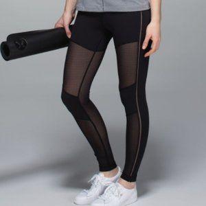 lululemon hot to street black mesh leggings size 6